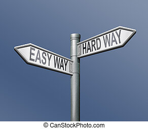 easy and hard ward roadsign arrow on blue background