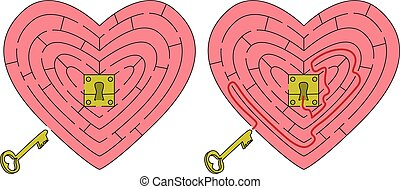 Easy heart maze for younger kids with a solution
