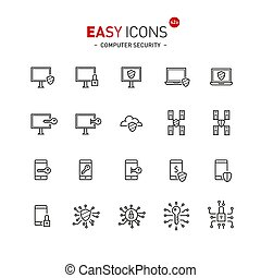 Easy icons 43a Computer security - Vector thin line flat...