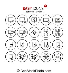 Easy icons 43b Computer security - Vector thin line flat...