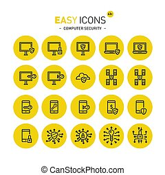 Easy icons 43c Computer security - Vector thin line flat...