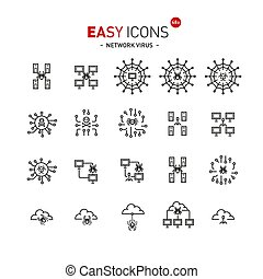 Easy icons 48a Network virus - Vector thin line flat design...