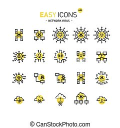 Easy icons 48d Network virus - Vector thin line flat design...