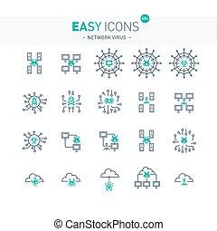 Easy icons 48e Network virus - Vector thin line flat design...
