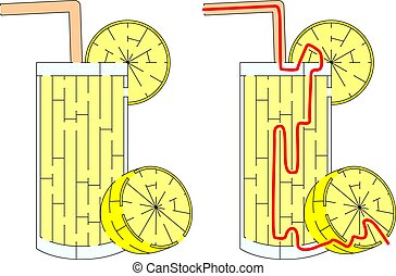 Easy lemonade maze for younger kids with a solution