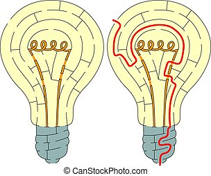 Easy light bulb maze for younger kids with a solution