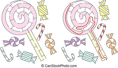 Easy lollipop maze for younger kids with a solution