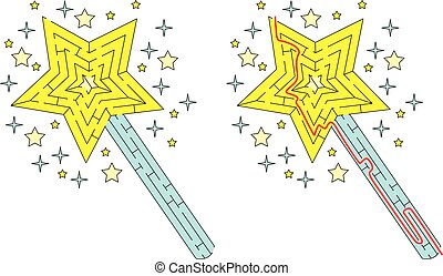Easy magic wand maze for younger kids with a solution