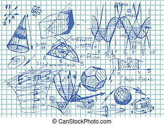 easy math symbols and 3d objects in blue