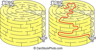 Easy mice maze for younger kids with a solution