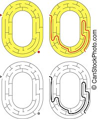 Easy number maze for kids with a solution - worksheet for learning numbers - recognizing number 0