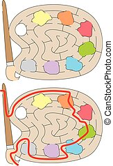 Easy palette maze for younger kids with a solution
