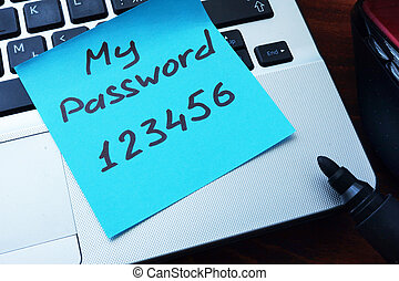 Easy Password concept. My password 123456 written on a paper...