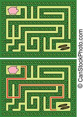 Easy piglet maze for younger kids with a solution