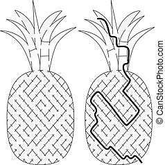 Easy pineapple maze for younger kids with a solution in...
