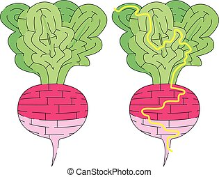 Easy radish maze for kids with a solution