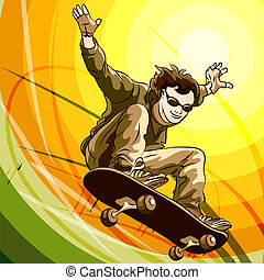 Easy skater - Funny illustration of jumping skateboarder...
