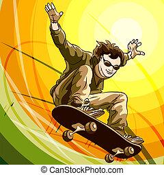 Easy skater - Funny illustration of jumping skateboarder...