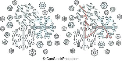 Easy snowflake maze for younger kids with a solution
