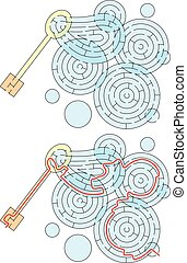 Easy soap bubbles maze for younger kids with a solution
