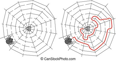 Easy spider maze for younger kids with a solution