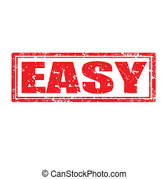 Easy-stamp - Grunge rubber stamp with word Easy,vector...