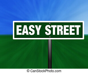 Easy Street Sign - A green and white street sign with...