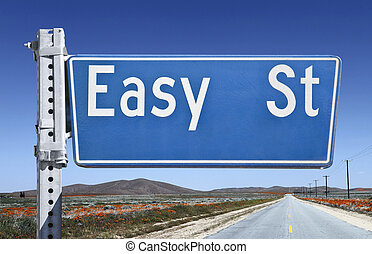 Easy Street Sign - Easy street sign isolated on white.
