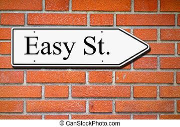 Easy street signpost wall bricks