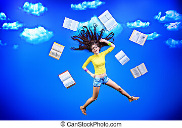 easy study - Happy girl student is flying in the sky with ...