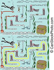 Easy sunken treasure maze for younger kids with a solution