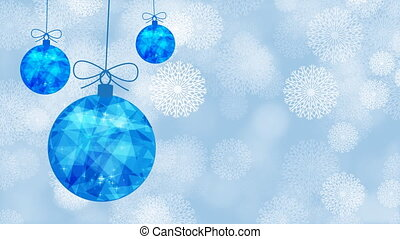 Easy swaying of Christmas blue balls. New Year polygonal balls. Snowfall. Snow