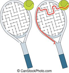 Easy tennis racket maze for kids with a solution