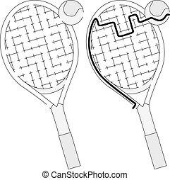 Easy tennis racket maze