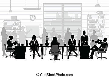 business people during a meeting - easy to edit vector ...