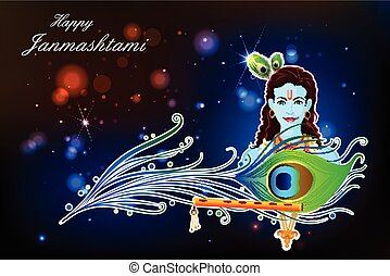 Happy Krishna Janmashtami - easy to edit vector illustration...
