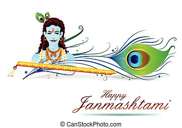 Happy Krishna Janmashtami - easy to edit vector illustration...