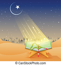Koran in Happy Eid background - easy to edit vector...