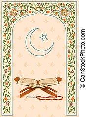 Koran in Ramadan Kareem (Happy Ramadan) background - easy to...