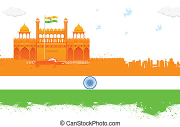 India background with Red Fort - easy to edit vector...