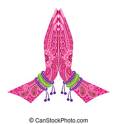 Indian Hand in greeting posture - easy to edit vector...