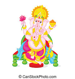 easy to edit vector illustration of Lord Ganesha in floral design