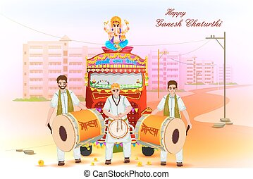 Lord Ganesha procession for Ganesh Chaturthi
