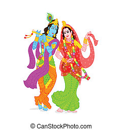 Lord Krishna and Radha - easy to edit vector illustration of...