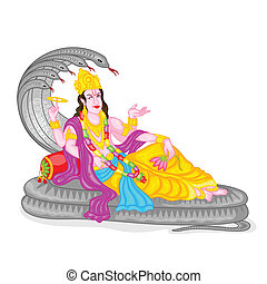 Lord Vishnu - easy to edit vector illustration of Lord...