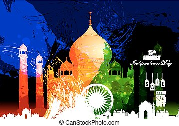 Monument and Landmark on Indian Independence Day celebration Advertisement background
