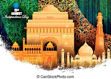 Monument and Landmark on Indian Independence Day celebration background