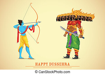 easy to edit vector illustration of Rama killing Ravana in Dussehra