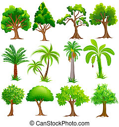 easy to edit vector illustration of Tree Collection