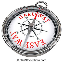 easy versus hard way dilemma concept compass with red letters isolated on white background